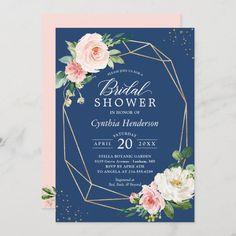 Blush Pink Navy Blue Floral Bridal Shower Invitation Invitation Design, Bridal Shower Invitations, Custom Invitations, Colored Envelopes, White Envelopes, Shower Suites, Envelope Liners, Elegant Wedding