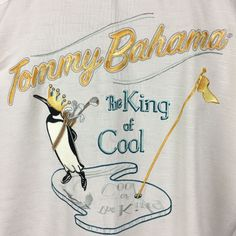 TOMMY BAHAMA The King Of Cool Silk Button Front Shirt SS Mens Small Golf Penguin #TommyBahama #ButtonFront
