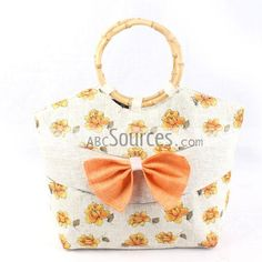 China Wholesale Orange Flower Pattern Shoulder Handbag With Tie Attached, Beach Bag With Wood Ring Handle, Small Size