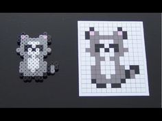 Cute Raccoon Perler Bead Pattern.  Laceys Crafts is all about sharing super simple and adorable crafts for kids. Enjoy!