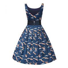 Lana Dark Blue Cranes Swing Dress | Vintage Inspired Dress - Lindy Bop