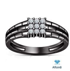 0.35 CT 14k Black Gold Finish 925 Silver Round Cut Diamond Men's Nine Stone Ring…