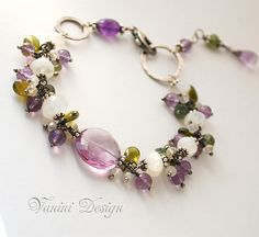 Spring tranquility-Fine/Sterling silver,rainbow moonstone,Amethyst,Vesonite,green apatite bracelet
