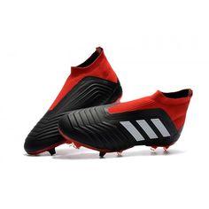 new styles a0966 d4045 adidas Predator 18+ FG strikket sort rød negle Fodboldstøvler