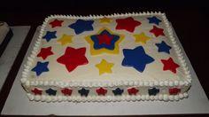 chocolate sheet cake with vanilla butter cream icing