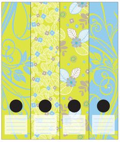 Wallpaper inspired Lever Arch labels of lime green, light blue and white leaves and flowers. Self-adhesive. 4 different labels in a packet. Funky Flower clr1