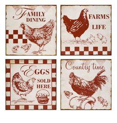 Vintage Cafe Chicken Signs Wall Decor Set of 4 Chicken Signs, Chicken Art, Chicken Crafts, Chicken Houses, Vintage Labels, Vintage Signs, Collages D'images, Cafe Sign, Images Vintage