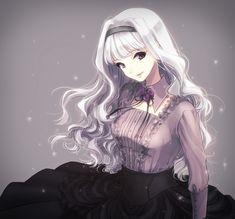 ✮ ANIME ART ✮ pretty girl. . .silver hair. . .long hair. . .blouse. . .collar. . .ribbon. . .headband. . .elegant. . . .cute. . .kawaii