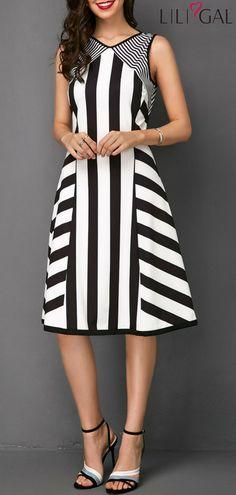 Keyhole Back Sleeveless Stripe Print Dress   #liligal #dresses #womenswear #womensfashion