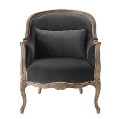 Velvet armchair in charcoal grey