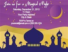 Arabian Nights (Aladdin Theme) Party Invitation