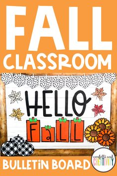 Teachers, here's a super easy and affordable way to get your classroom ready for the Fall season. Check out this printable Fall bulletin board kit that your students will love! This display kit works beautifully on any classroom door, wall, or even as your distance learning backdrop! Fall bulletin board ideas // Fall classroom decorations // Fall door decorations for the classroom Fall Bulletin Boards, Teacher Bulletin Boards, Bulletin Board Display, High School Classroom, Homeschool High School, Classroom Door, Hello Autumn, Board Ideas, Inspirational Bulletin Boards
