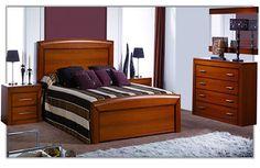 Dormitorio de Matrimonio de estilo Clásico formado por:  - Cama modelo Sandalo para somier de 150 cm. - Dos mesitas con 2 cajones de anchos 40, 50 ó 60 cm. - Cómoda con cuatro cajones de ancho 90 ó 115 cm y marco espejo de ancho 110 ó 85 cm. Furniture, Home Office Furniture, Bed Furniture Design, Home Furniture, Bedroom Furniture, Wooden Bedroom, Wooden Bed Design, Bed Frame, Master Bedrooms Decor