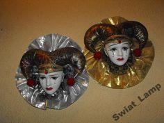 Dwie porcelanowe maski weneckie - dekoracja