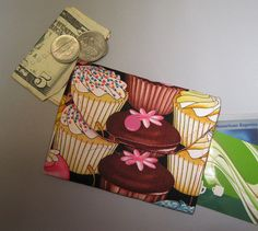 Women's Small Fabric Wallet Cupcakes by AlwaysALittleBehind, $8.00