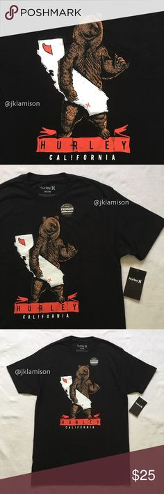 """Hurley California Bear Surf Men's Black T-Shirt Whether you're in SoCal or Sausalito, the Hurley Cali Shredders Premium Men's Tee is soft and comfortable under the sun.  Pit to pit: 23"""" 100% Cotton  New with Tag Hurley Shirts Tees - Short Sleeve"""