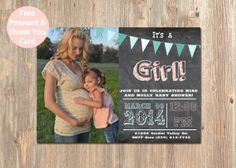 It's a Girl Photo Baby Shower Invitation. Chalkboard Shower Card. Pennant Baby Shower Invite. Picture Baby Shower Card. Girl Invitations on Etsy, $16.00
