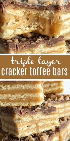 These easy caramel & chocolate triple layer cracker toffee bars are a fun twist to traditional cracker toffee. One pan, three layers, and only about 10 minutes is all you need for sweet, buttery, salty perfection. It's a must make Christmas recipe! Caramel Recipes, Candy Recipes, Sweet Recipes, Baking Recipes, Cookie Recipes, Dessert Recipes, Dinner Recipes, Bar Recipes, Breakfast Recipes