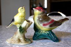 A pair of vintage Royal Copley bird planters