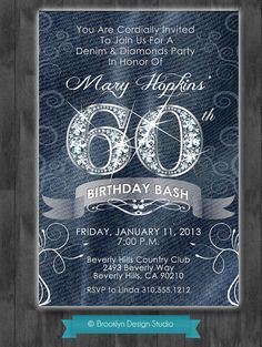Denim and Diamonds Custom Designed Party by Brooklyn DesignStudio, $15.00 (Invite Ideas)