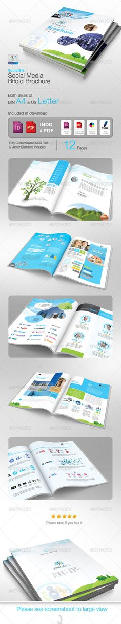 SocialBiz Professional Social Media Brochure  #GraphicRiver             12 pages professional Clean  Creative Business Annual Report Bi-fold Brochure is ideal for