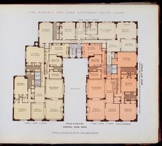 1910, Floor plan of the Brentmore apartments from The World's New York Apartment House Album.