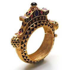 Astral Bangle Base Metal with 18k Yellow Gold plating,Enamel and embellished with Black Onyx and crystal. By Amrapali Jewels Jaipur. Manish Arora Collection.