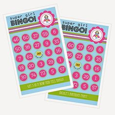 1 SET of 16 Super Hero Girl Birthday Bingo *** To view further for this item, visit the image link.