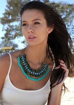 Gold Double Chain Necklace - Green+Blue @LookBookStore