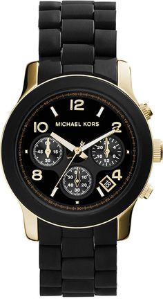 Michael Kors Women's Chronograph Runway Gold-Tone Stainless Steel and Black Polyurethane Bracelet Watch 38mm MK5191 - $275.00