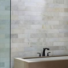 Large wall - Home Depot Large tile gives the illusion of a larger bathroom Cheap Bathroom Tiles, Home Depot Bathroom Tile, Ceramic Tile Bathrooms, Bathroom Tile Designs, Bathroom Floor Tiles, Bathroom Ideas, Bathroom Wall, Bathroom Vanities, Modern Bathroom