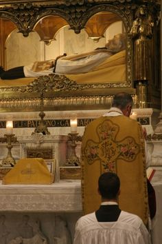 Mass in front of the incorrupt body of St. John Vianney.  He looks just like the pictures I have always seen!