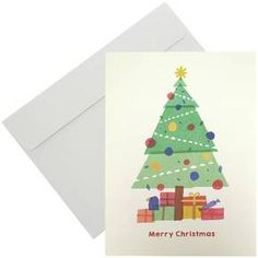 "These holiday cards feature a colorful paper mache inspired tree with presents at the base of the tree trunk. The cards also include a ""Merry Christmas"" exterior sentiment and ""It's the best time of the year."" interior sentiment. Includes 16 cards with blank white envelopes."