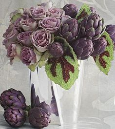 Floral arrangement ~ Artichoke, roses and begonia leaves My Flower, Fresh Flowers, Beautiful Flowers, Deco Floral, Arte Floral, Lavender Roses, Purple Flowers, Colorful Roses, Floral Arrangements