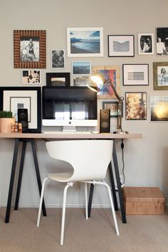 Industrial lamp + photo wall