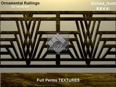 DECO RAILING  ETCHED GOLD  TEXTURES Balcony Grill Design, Balcony Railing Design, House Gate Design, Door Design, Wrought Iron Gate Designs, Staircase Railing Design, Railings, Modern Fence Design, Iron Balcony