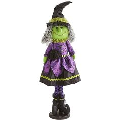 Pier 1 Imports Whimsical Wenda Witch Figure ($6.18) ❤ liked on Polyvore featuring home, home decor, holiday decorations, halloween, fall, colorful home decor, fall home decor, whimsical home decor, halloween home decor and autumn home decor