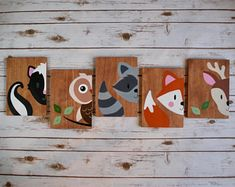 Baby Nursery wall art woodland forest friends, hand painted wood, animals sign d. Nursery Wall Art, Wall Art Decor, Bedroom Wall, Wood Animal, Forest Friends, Woodland Nursery Decor, Art Mural, Baby Kind, Imaginative Play