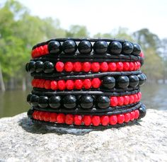 Red and Black Leather Wrap Bracelet handmade by Onsra Designs $45