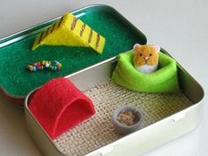 Hamster miniature felt plush in Altoid tin playset - snuggle bag ramp house play food