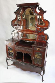 Carved mahogany chiffonier sideboard/display cabinet (c.1900 England)