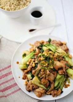 Cashew Chicken with Bok Choy.