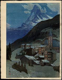 Hiroshi Yoshida, Matterhorn (Night), woodcut