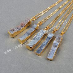 Wholesale Gold Plated Rectangle Natural Brazilian Galaxy Quartz Necklace Galaxy Druzy Bar Chalcedony For Gemstone Jewelry Making G0483-N by Druzyworld on Etsy