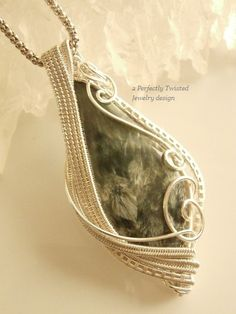 Seraphinite Wire Wrapped Silver Pendant Wire by PerfectlyTwisted