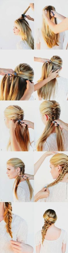 These fishtail braids would suit any occasion and this is so damn easy. Part your hair into two sections taking one smaller piece of hair from each section crossing each other. Continue taking pieces of hair from either side of your head thereby putting on sexy fishtail braids. <3