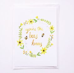 You're the Bee's Knees  Postcard by sarahfrancesart on Etsy