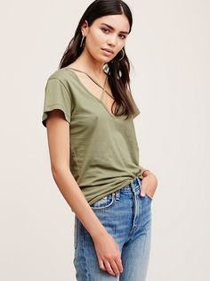 LNA Cross Tee | American made cotton tee featuring a crossover design along the V-neckline for an elevated look. Classic silhouette and easy fit.