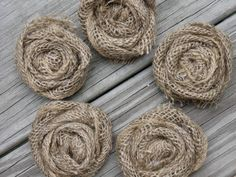 5 burlap rosettes rustic wedding flower flowers woodland ribbon bows shabby chic jute cabin cottage ribbon twine reception bride groom bow. $15.00, via Etsy.