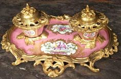early 19th century French Louis XV Sevres porcelain and ormolu mounted inkwell with acanthus leaves hand painted with colorful birds and porcelain floral designs